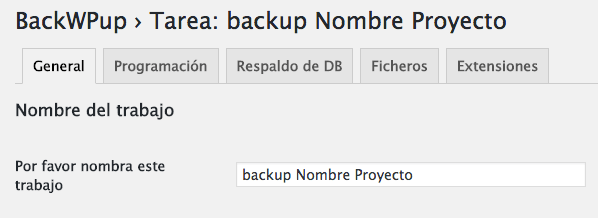 Configurar plugin backup WordPress