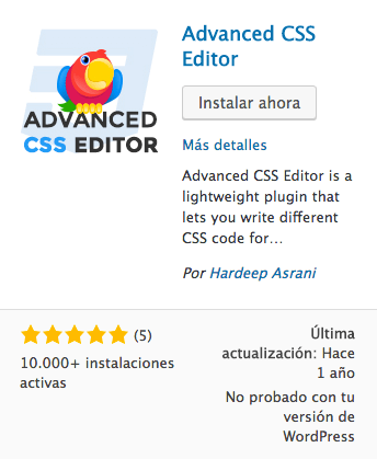 Advanced CSS Editor Plugin WordPress