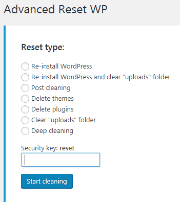 configuracion advanced reset wp