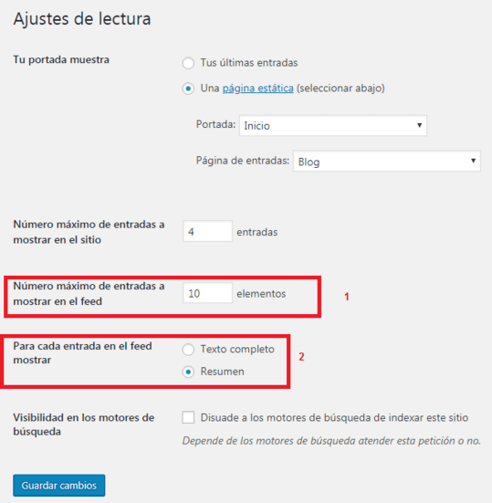ajustes lectura rss feed WordPress