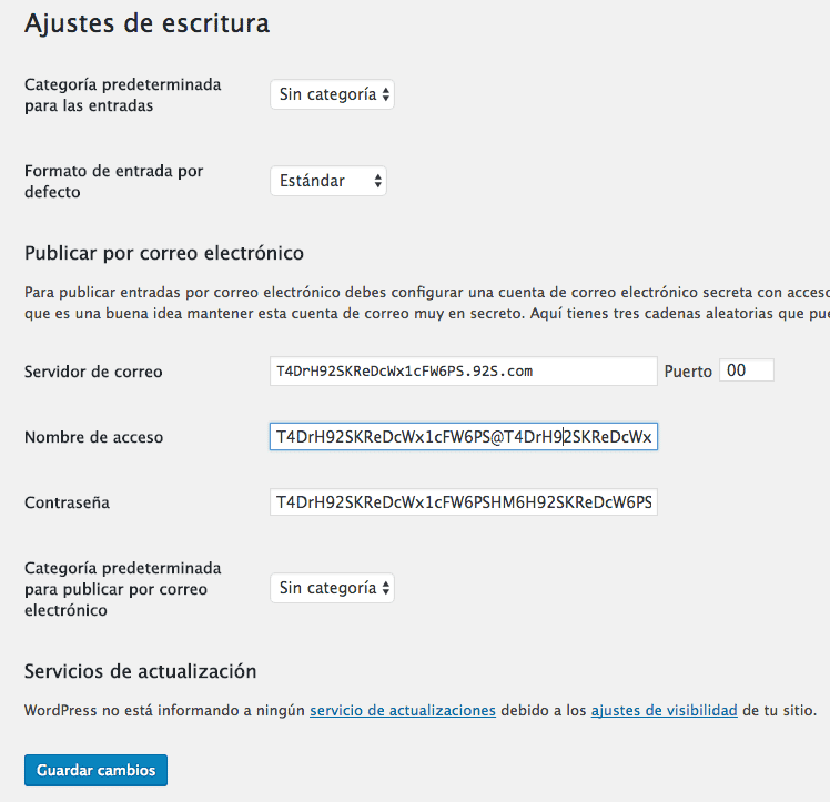 ajustes escritura wordpress