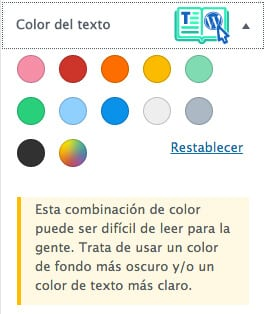 Cambiar color del texto con editor WordPress 5.0 Gutenberg