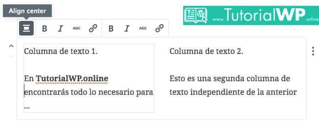 Bloque columnas de texto en editor Gutenberg WordPress 5.0