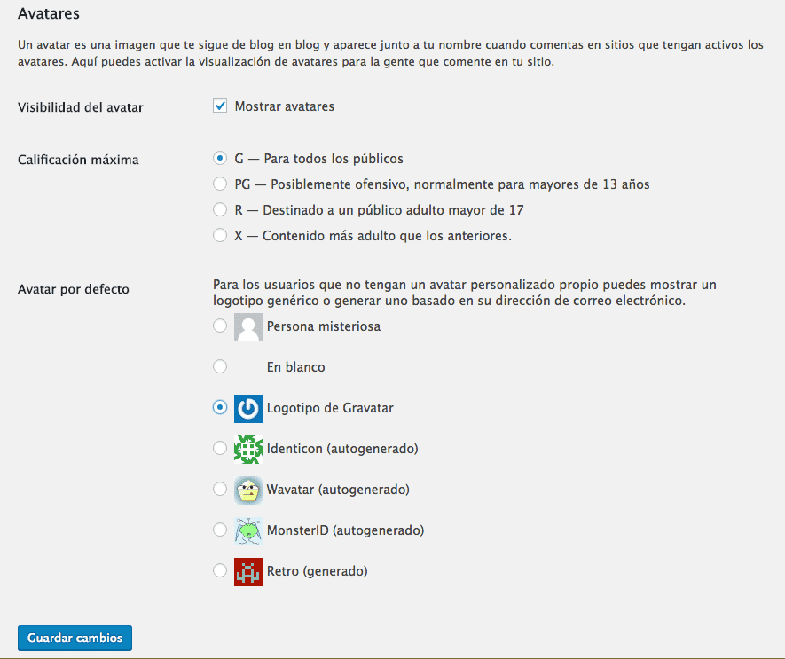 configurar ajustes avatar comentarios wordpress