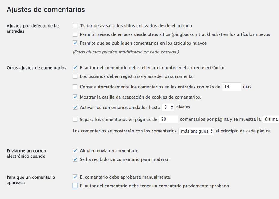 configuracion ajustes comentarios wordpress