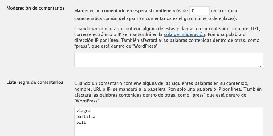 configurar ajustes moderacion comentarios wordpress