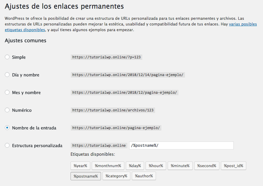 configurar ajustes permalinks o enlaces permanentes wordpress
