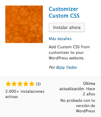 Customizer Custom CSS plugin WordPress