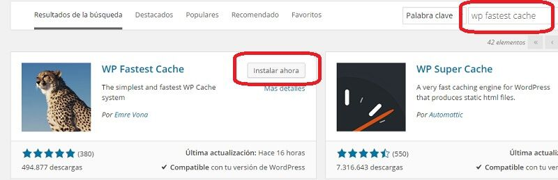 Instalar WP Fast cache wordpress plugin