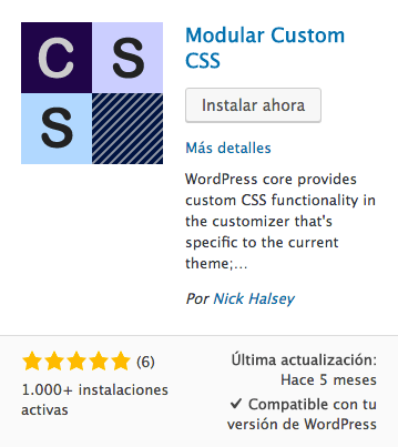 Modular Custom CSS plugin WordPress