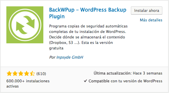 Plugin copias seguridad WordPress BackWPup