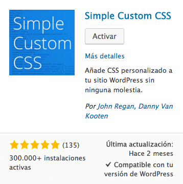 Simple Custom CSS plugin WordPress