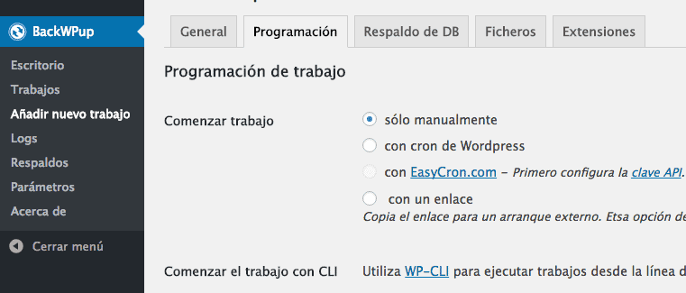 Sistema Backups WordPress