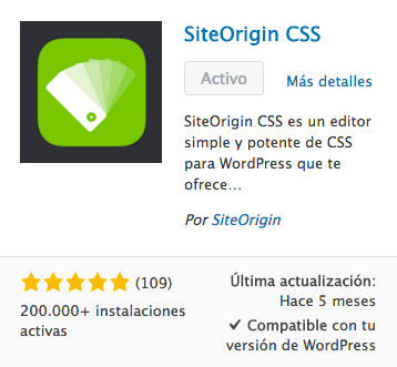 SiteOrigin CSS plugin WordPress