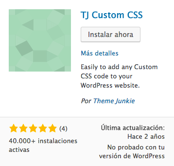 TJ Custom CSS plugin WordPress